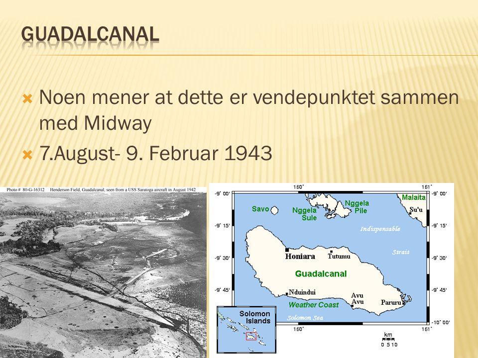 Guadalcanal Noen mener at dette er vendepunktet sammen med Midway 7.August- 9. Februar 1943
