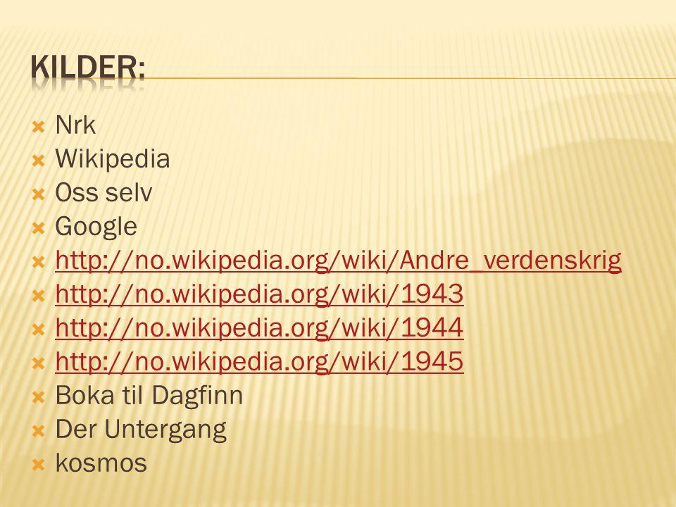 Kilder: Nrk Wikipedia Oss selv Google