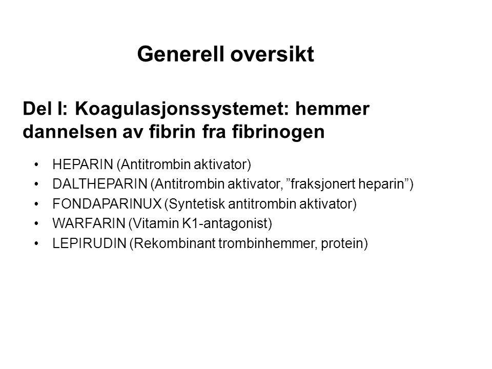 Generell oversikt Del I: Koagulasjonssystemet: hemmer dannelsen av fibrin fra fibrinogen. HEPARIN (Antitrombin aktivator)