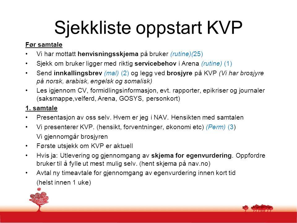 Sjekkliste oppstart KVP