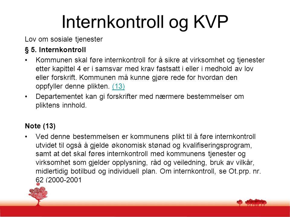 Internkontroll og KVP Lov om sosiale tjenester § 5. Internkontroll