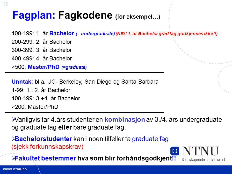 Fagplan: Fagkodene (for eksempel…)