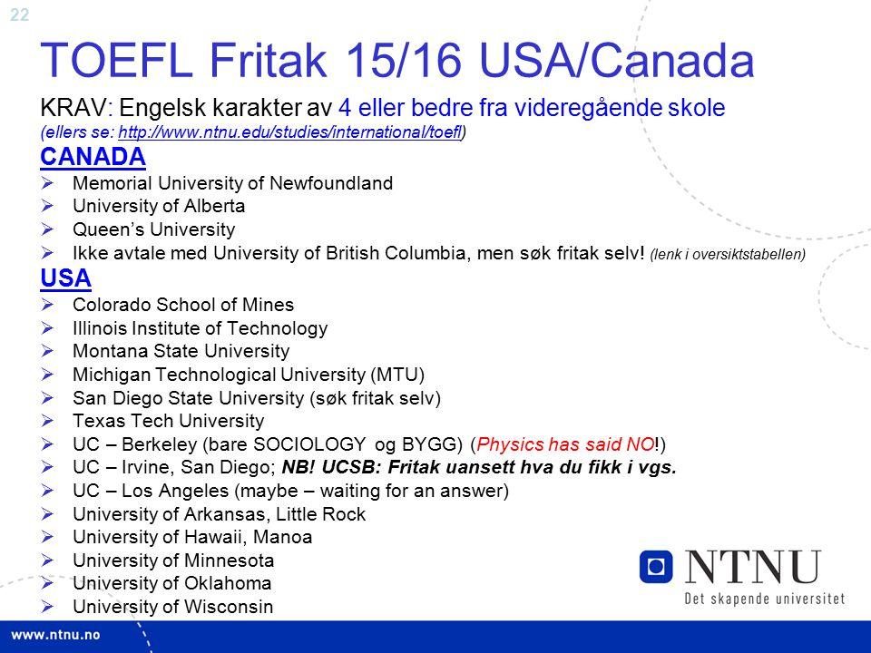 TOEFL Fritak 15/16 USA/Canada