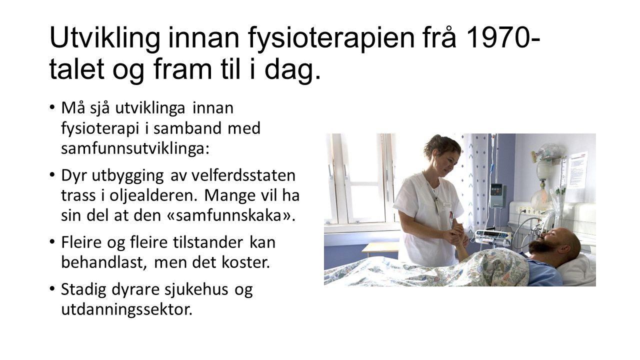 Utvikling innan fysioterapien frå 1970- talet og fram til i dag.