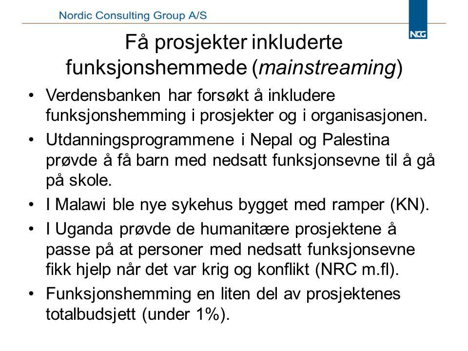 Få prosjekter inkluderte funksjonshemmede (mainstreaming)