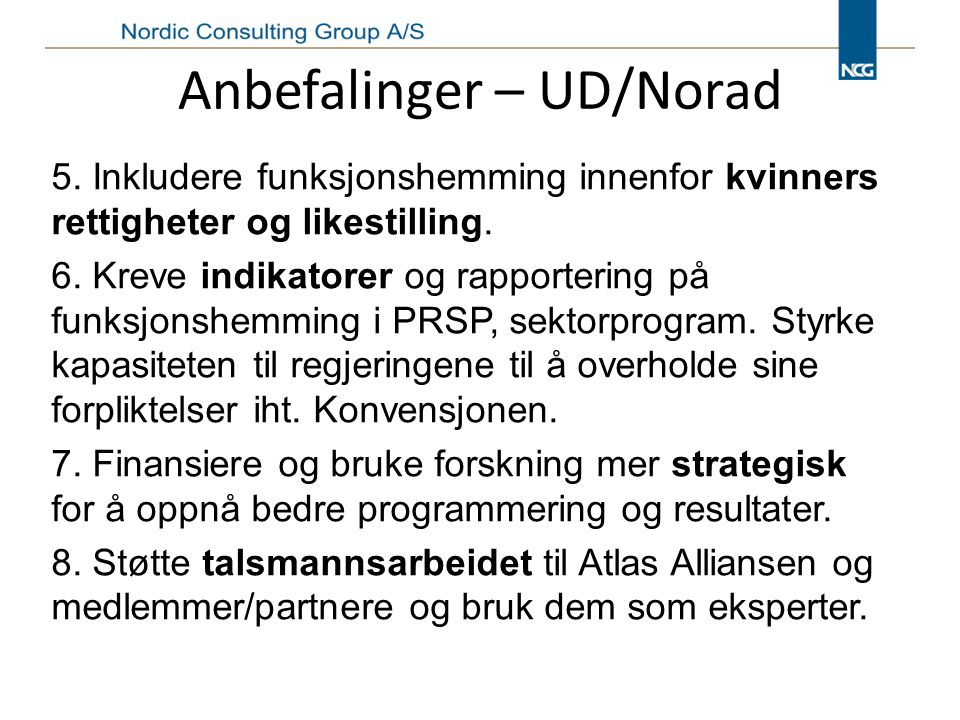 Anbefalinger – UD/Norad