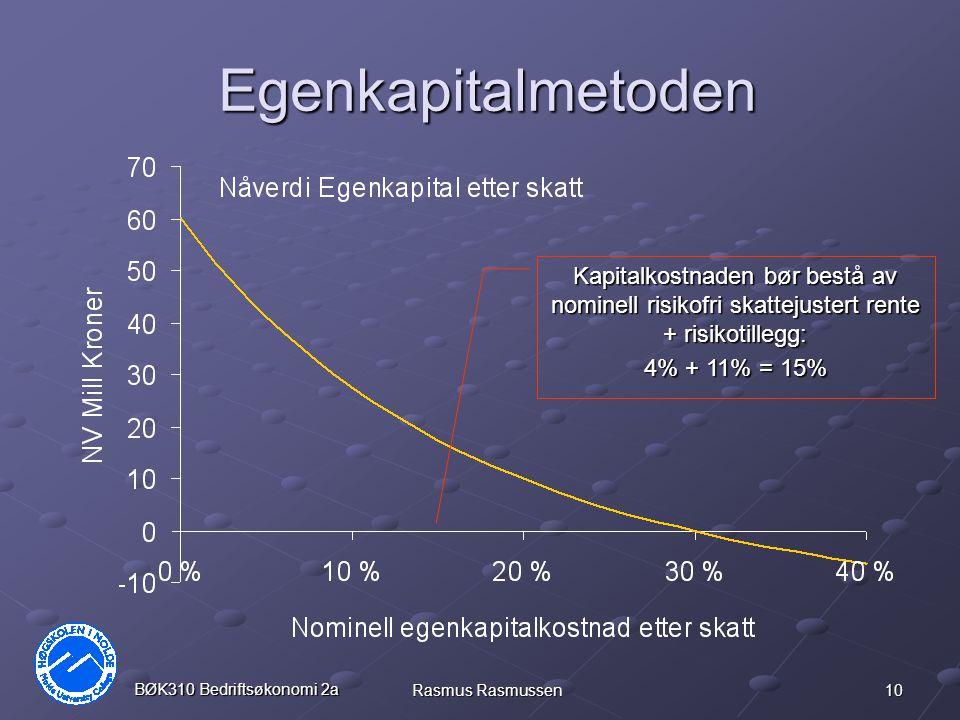Egenkapitalmetoden Kapitalkostnaden bør bestå av nominell risikofri skattejustert rente + risikotillegg: