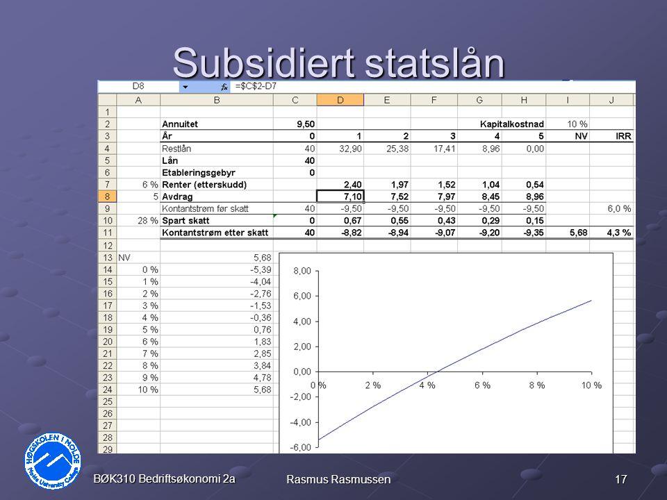Subsidiert statslån BØK310 Bedriftsøkonomi 2a Rasmus Rasmussen