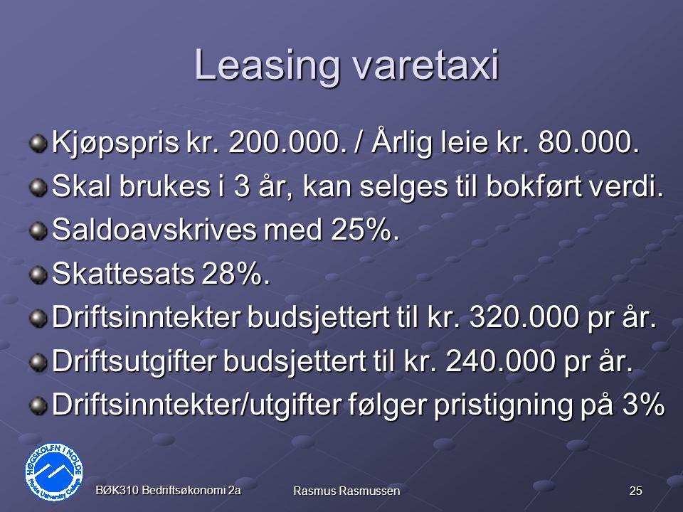 Leasing varetaxi Kjøpspris kr. 200.000. / Årlig leie kr. 80.000.