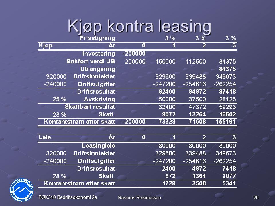 Kjøp kontra leasing BØK310 Bedriftsøkonomi 2a Rasmus Rasmussen