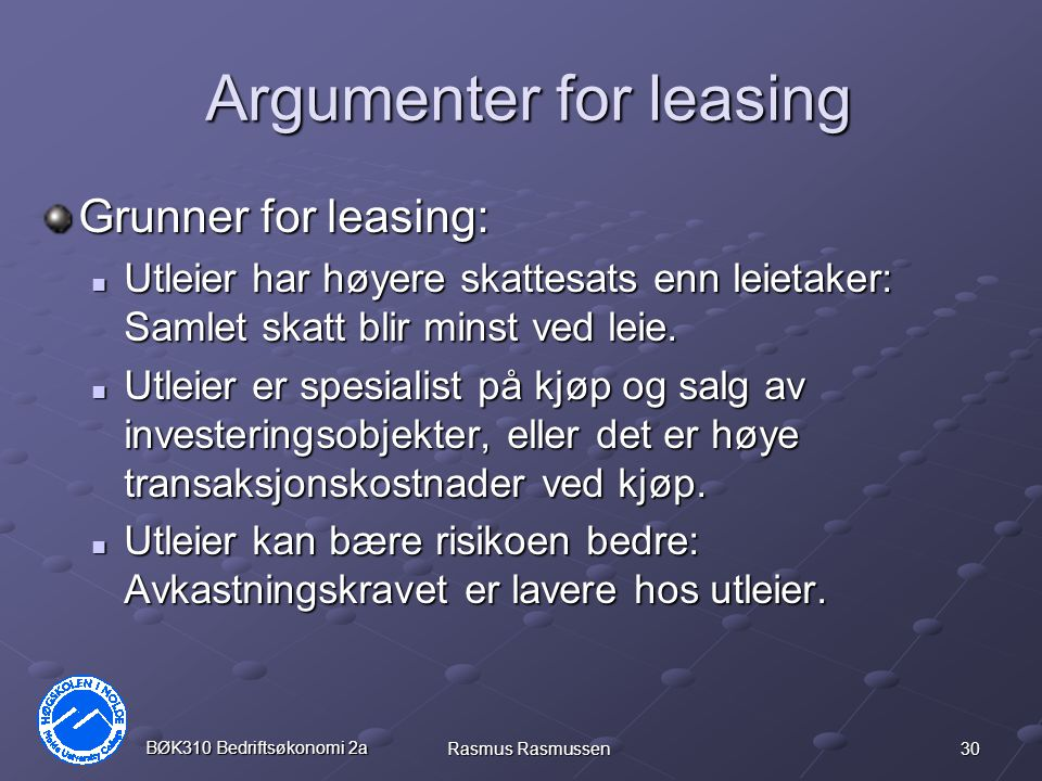 Argumenter for leasing