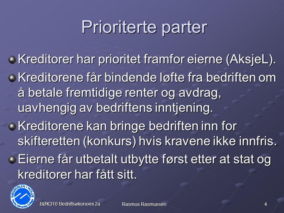 Prioriterte parter Kreditorer har prioritet framfor eierne (AksjeL).