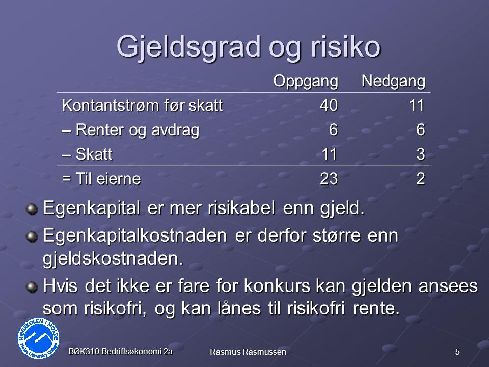 Gjeldsgrad og risiko Egenkapital er mer risikabel enn gjeld.