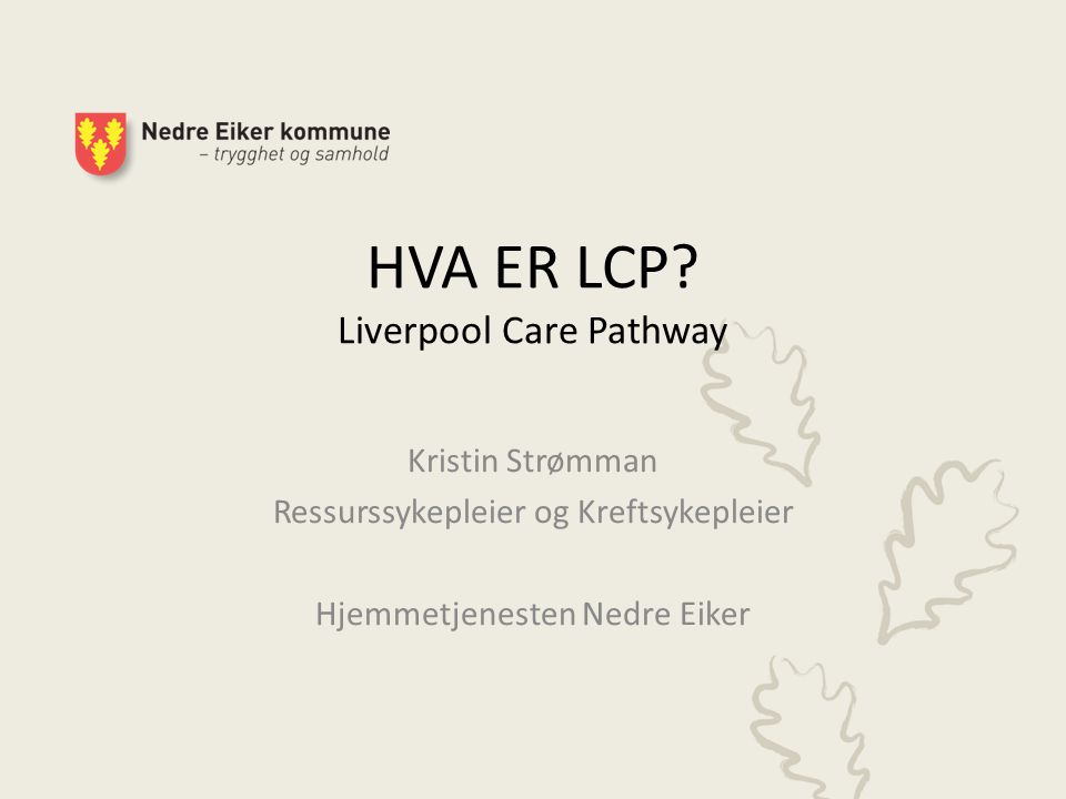 HVA ER LCP Liverpool Care Pathway