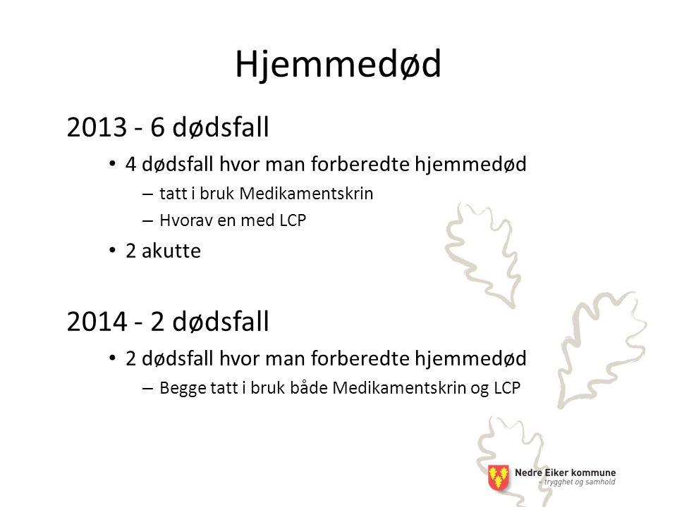 Hjemmedød 2013 - 6 dødsfall 2014 - 2 dødsfall