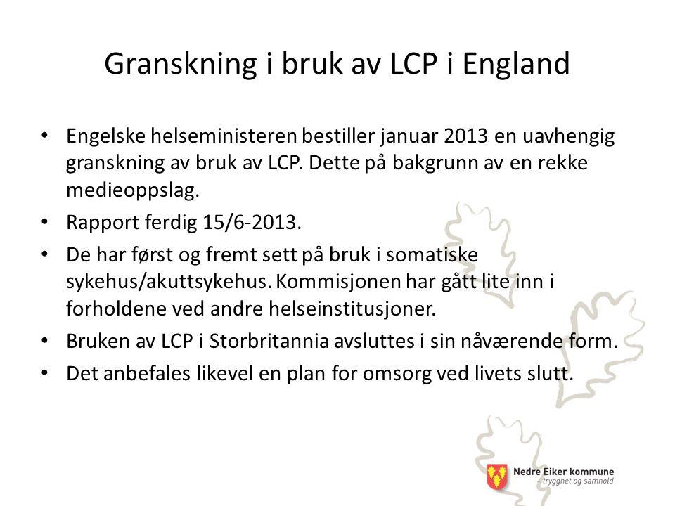 Granskning i bruk av LCP i England