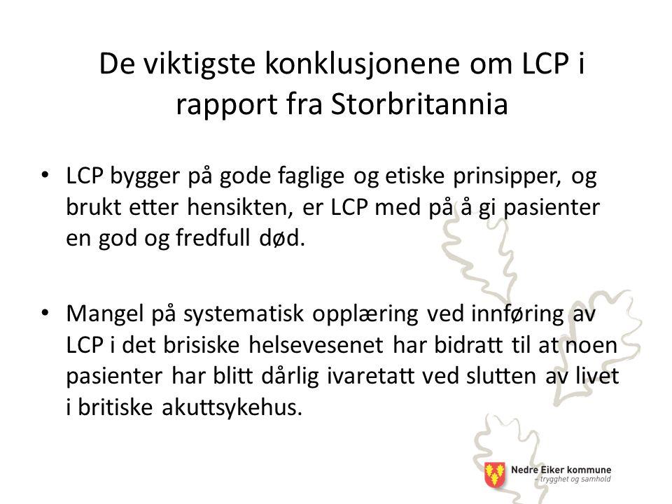De viktigste konklusjonene om LCP i rapport fra Storbritannia