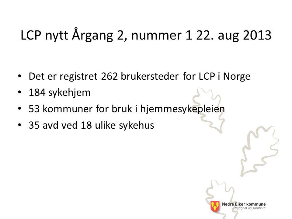 LCP nytt Årgang 2, nummer 1 22. aug 2013