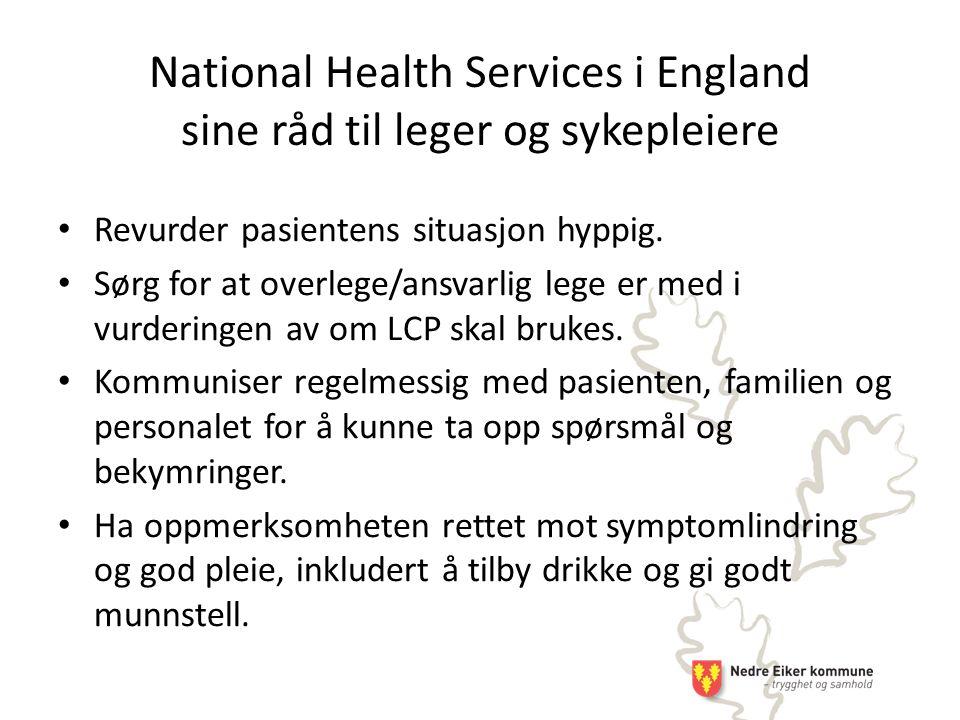 National Health Services i England sine råd til leger og sykepleiere