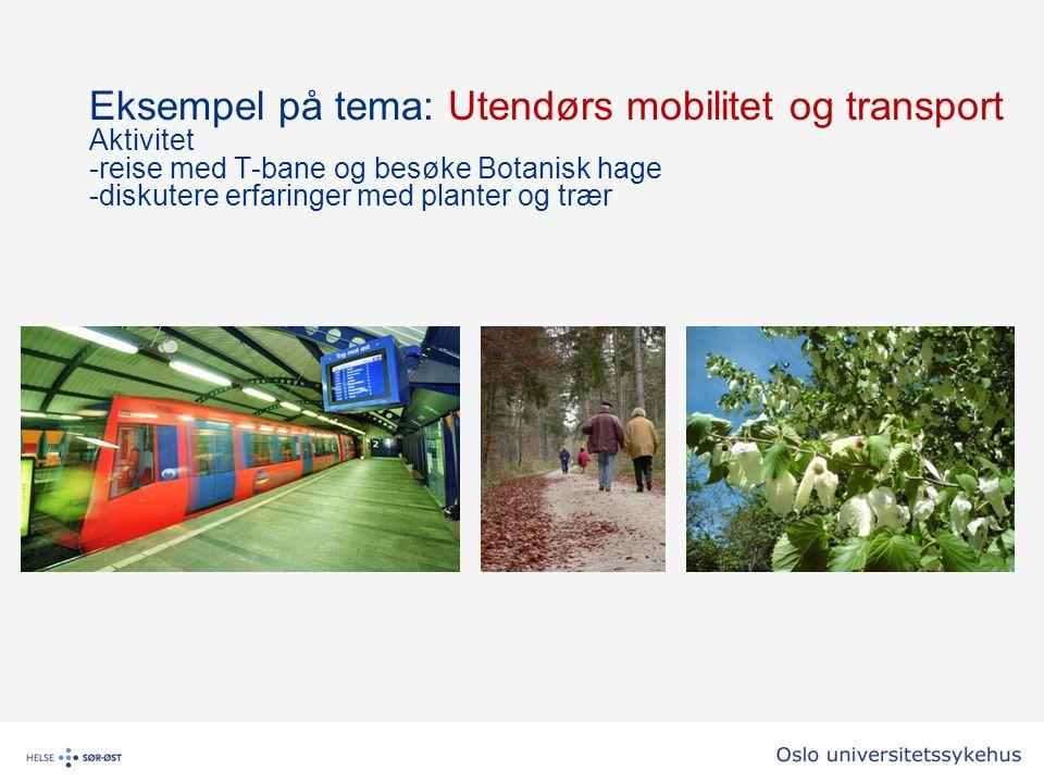 Eksempel på tema: Utendørs mobilitet og transport Aktivitet -reise med T-bane og besøke Botanisk hage -diskutere erfaringer med planter og trær