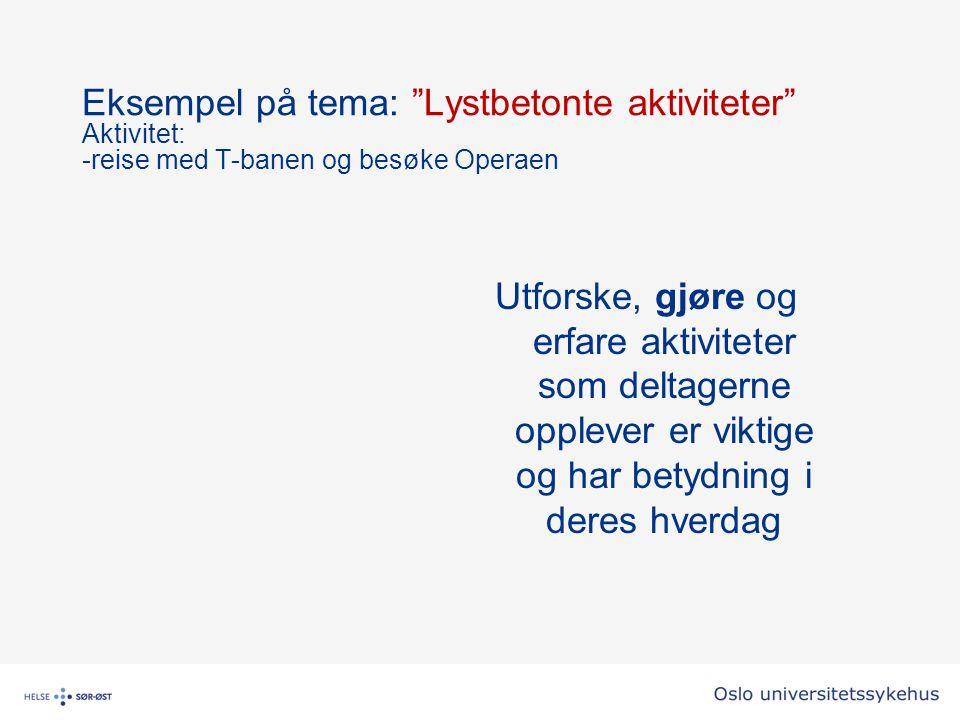 Eksempel på tema: Lystbetonte aktiviteter Aktivitet: -reise med T-banen og besøke Operaen