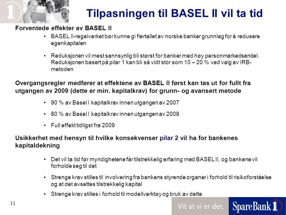 Tilpasningen til BASEL II vil ta tid