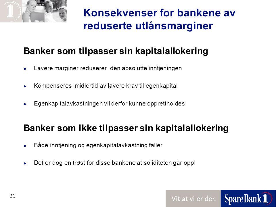 Konsekvenser for bankene av reduserte utlånsmarginer