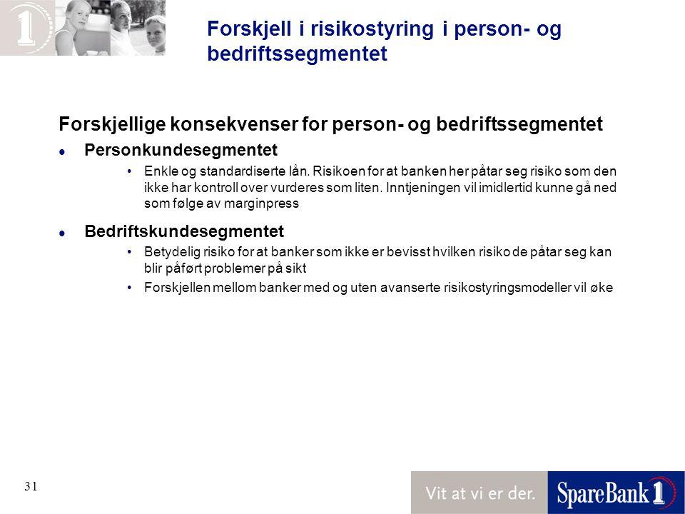 Forskjell i risikostyring i person- og bedriftssegmentet