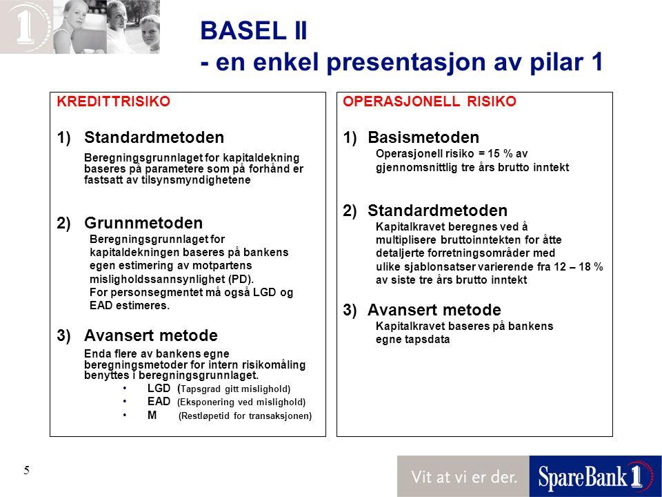 BASEL II - en enkel presentasjon av pilar 1