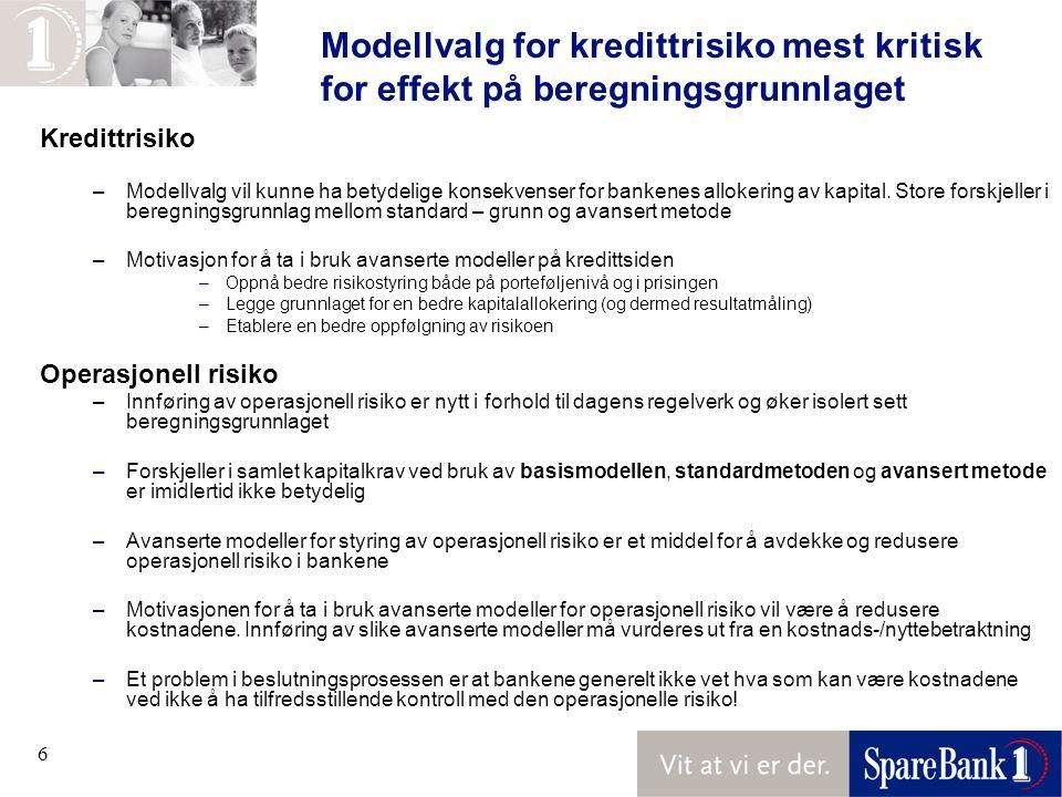 Modellvalg for kredittrisiko mest kritisk for effekt på beregningsgrunnlaget