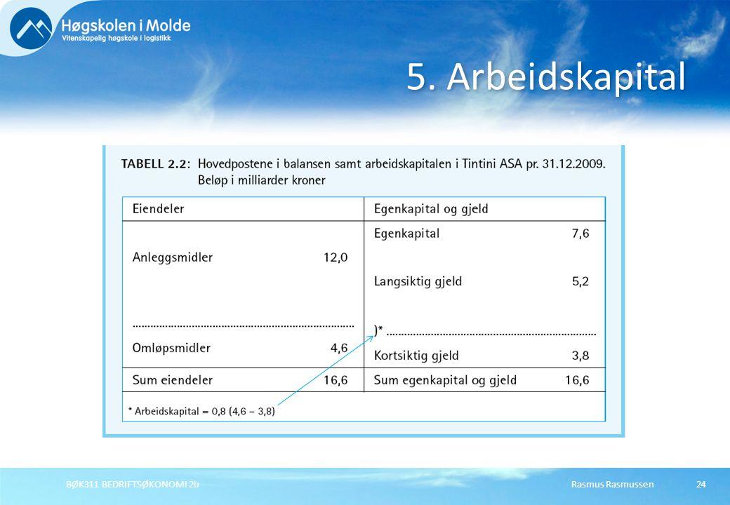 5. Arbeidskapital BØK311 BEDRIFTSØKONOMI 2b Rasmus Rasmussen