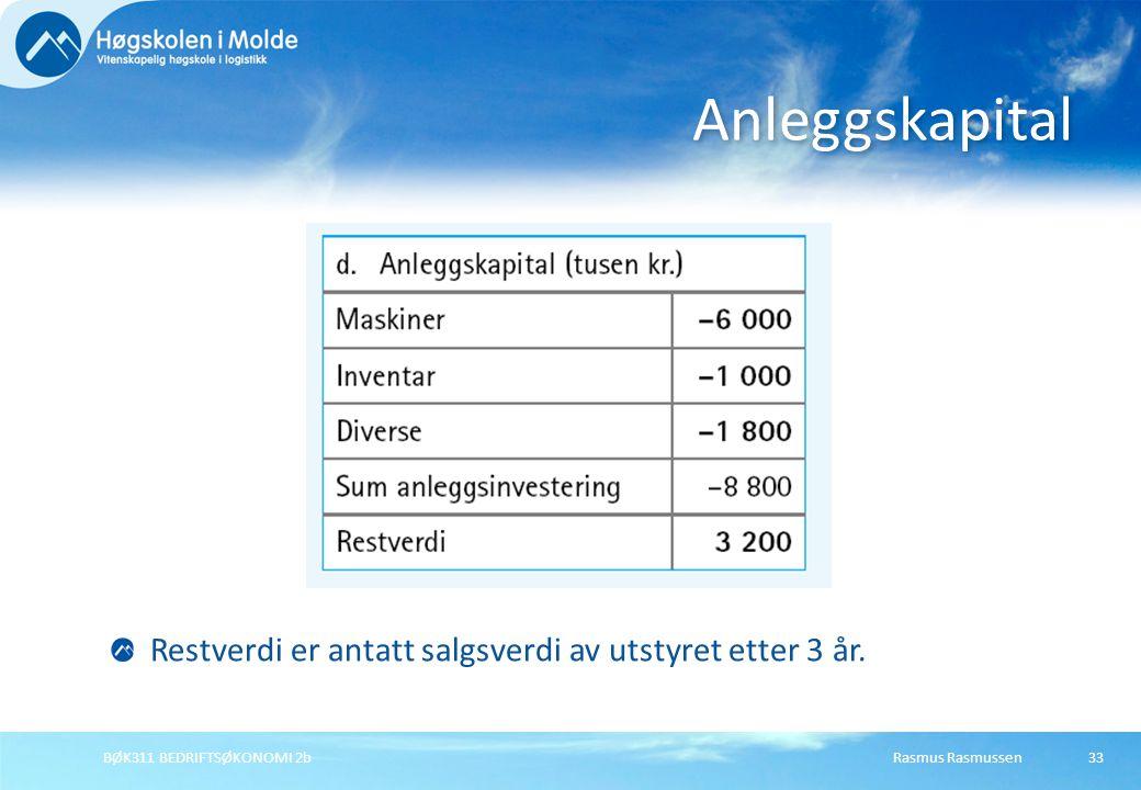 Anleggskapital Restverdi er antatt salgsverdi av utstyret etter 3 år.