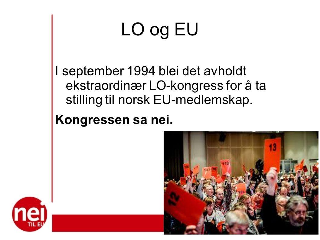 LO og EU I september 1994 blei det avholdt ekstraordinær LO-kongress for å ta stilling til norsk EU-medlemskap. Kongressen sa nei.