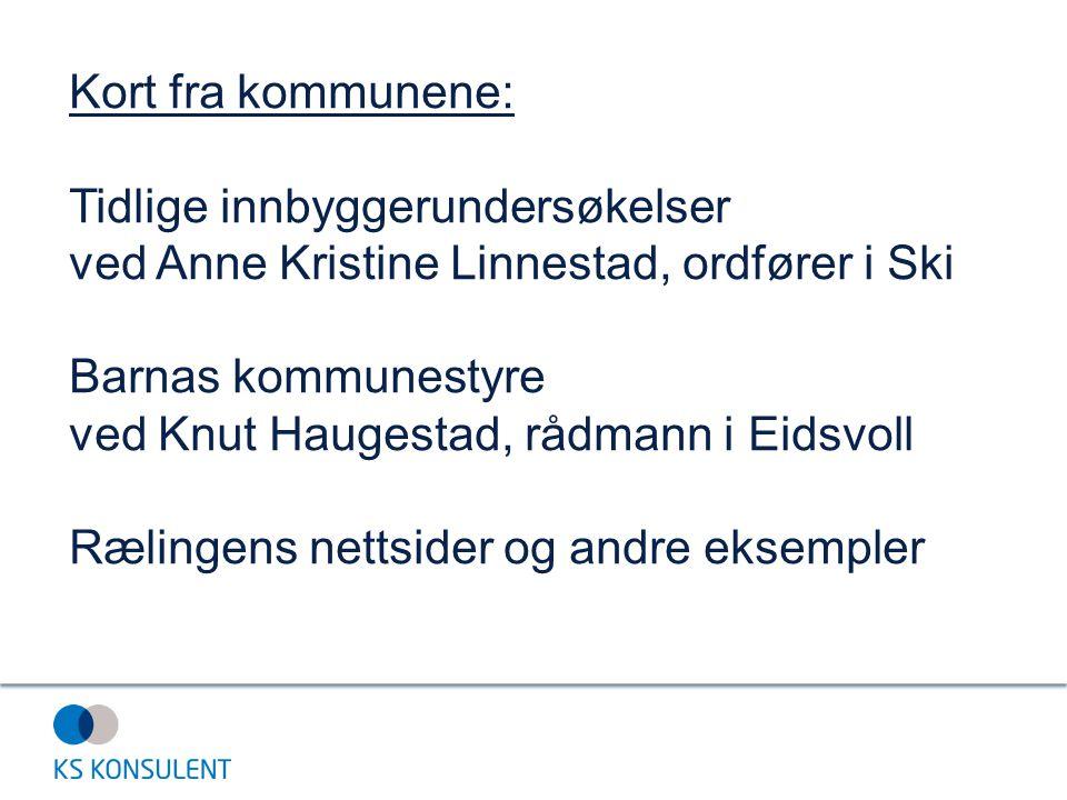 Kort fra kommunene: Tidlige innbyggerundersøkelser ved Anne Kristine Linnestad, ordfører i Ski Barnas kommunestyre ved Knut Haugestad, rådmann i Eidsvoll Rælingens nettsider og andre eksempler