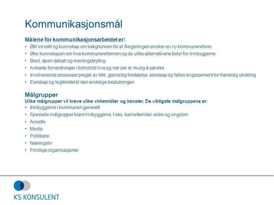 Kommunikasjonsmål Målgrupper Målene for kommunikasjonsarbeidet er: