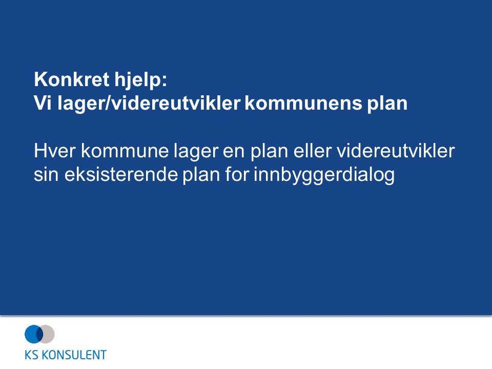 Konkret hjelp: Vi lager/videreutvikler kommunens plan