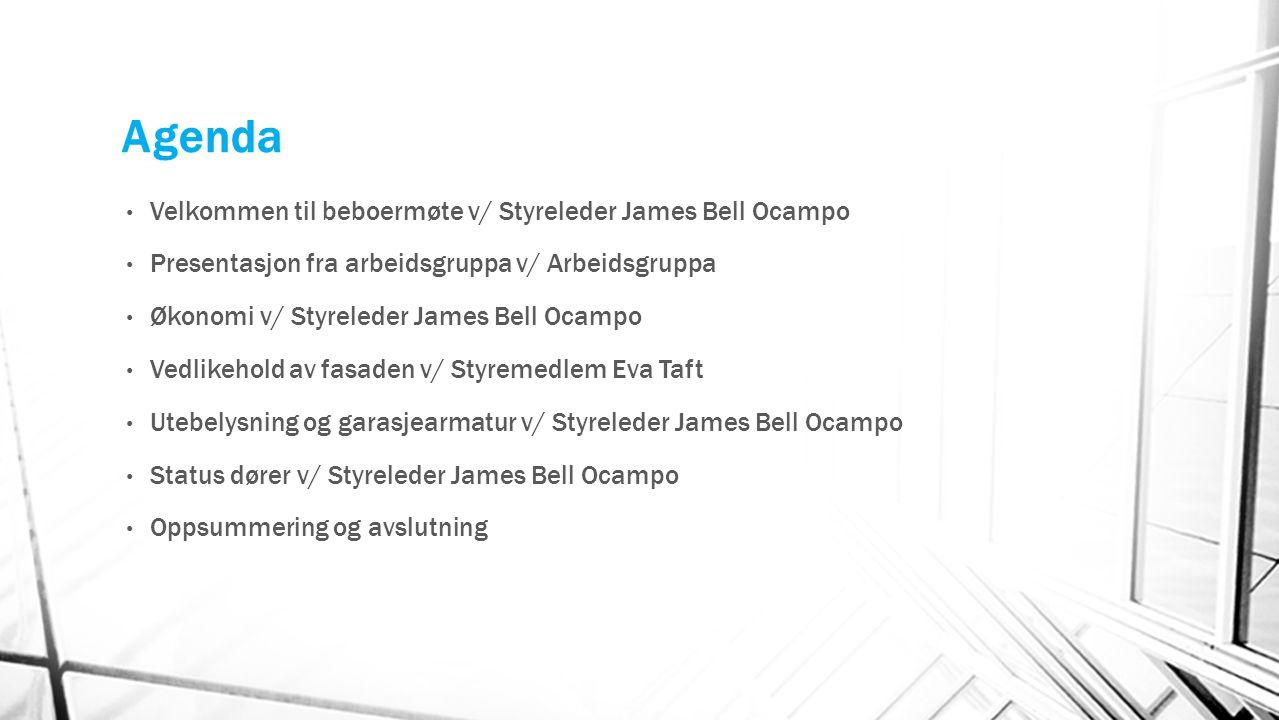 Agenda Velkommen til beboermøte v/ Styreleder James Bell Ocampo