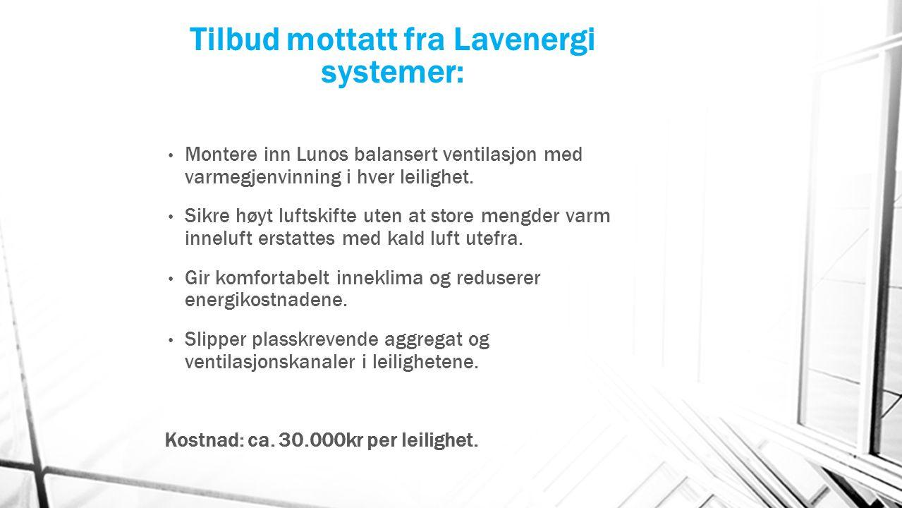 Tilbud mottatt fra Lavenergi systemer: