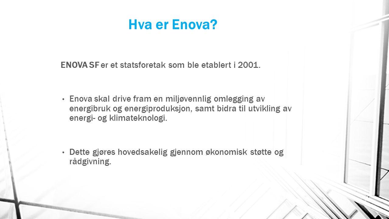 Hva er Enova ENOVA SF er et statsforetak som ble etablert i 2001.