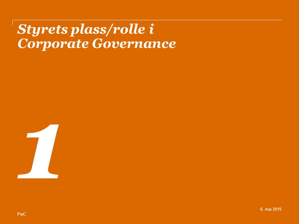 Styrets plass/rolle i Corporate Governance