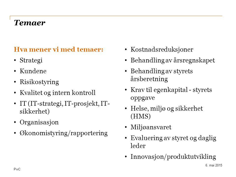 Temaer Hva mener vi med temaer: Strategi Kundene Risikostyring