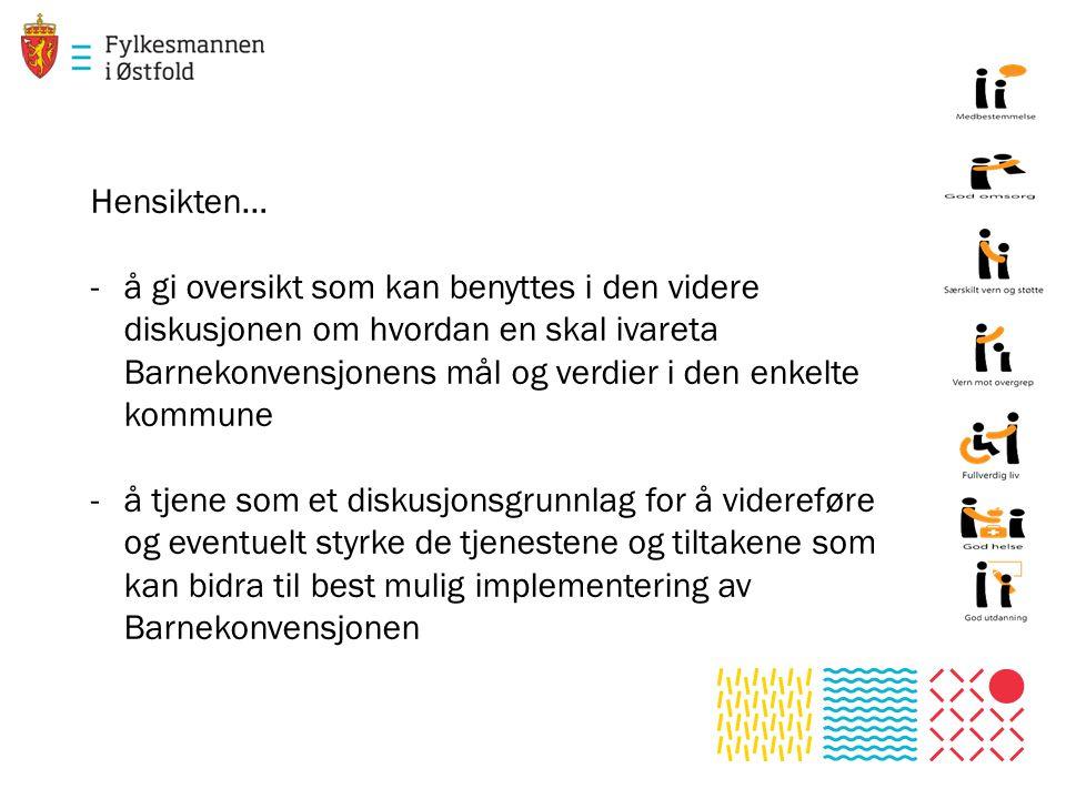 Hensikten… å gi oversikt som kan benyttes i den videre diskusjonen om hvordan en skal ivareta Barnekonvensjonens mål og verdier i den enkelte kommune.