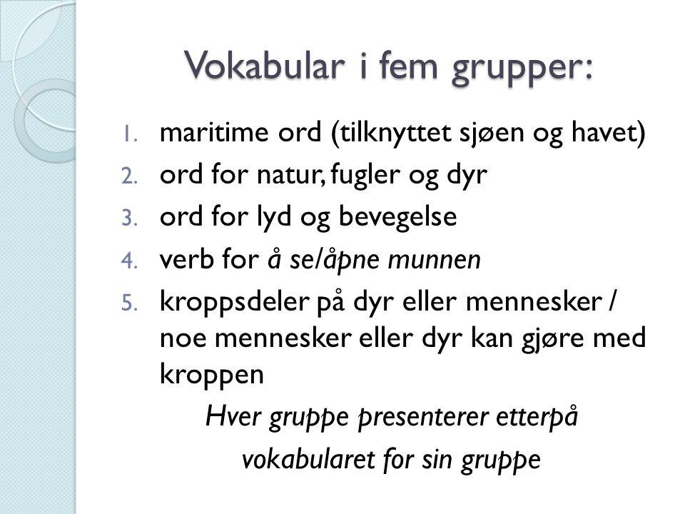 Vokabular i fem grupper: