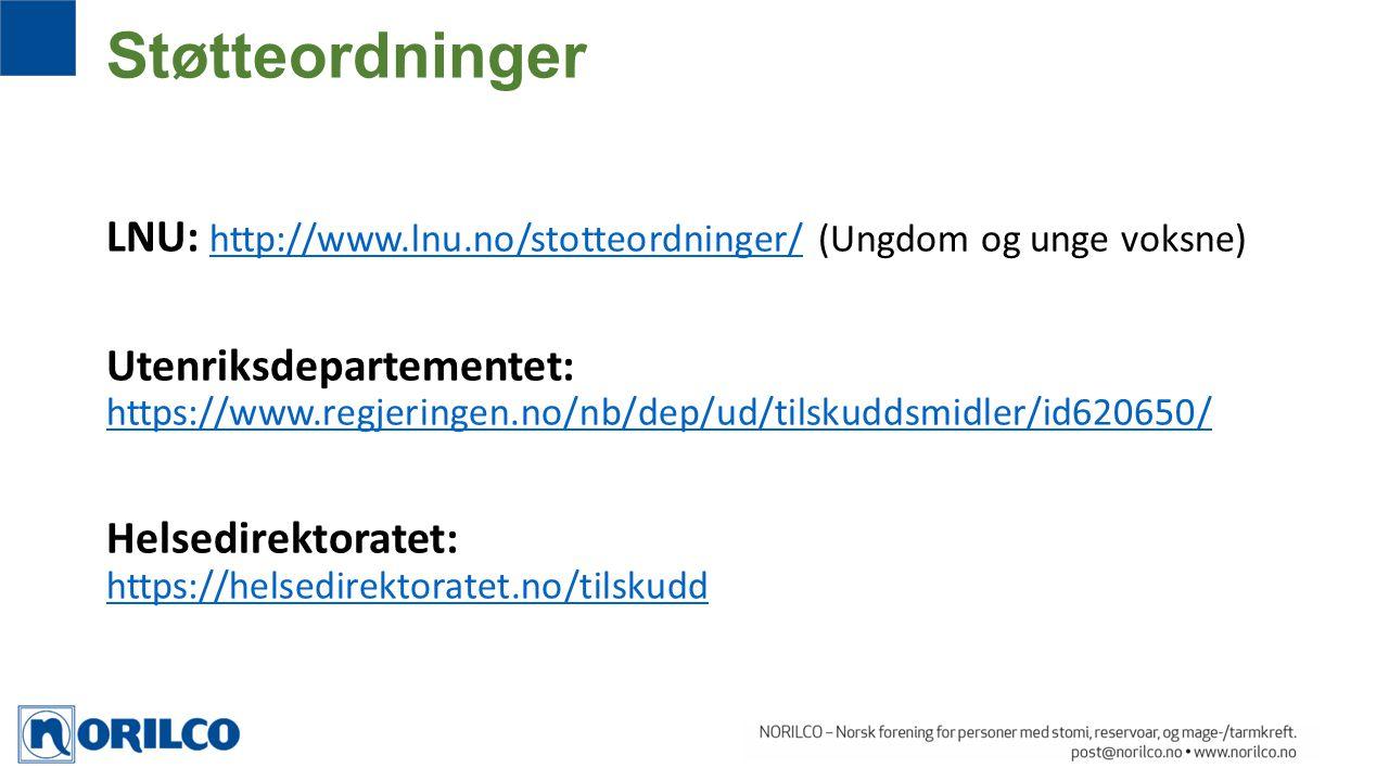 Støtteordninger LNU: http://www.lnu.no/stotteordninger/ (Ungdom og unge voksne)