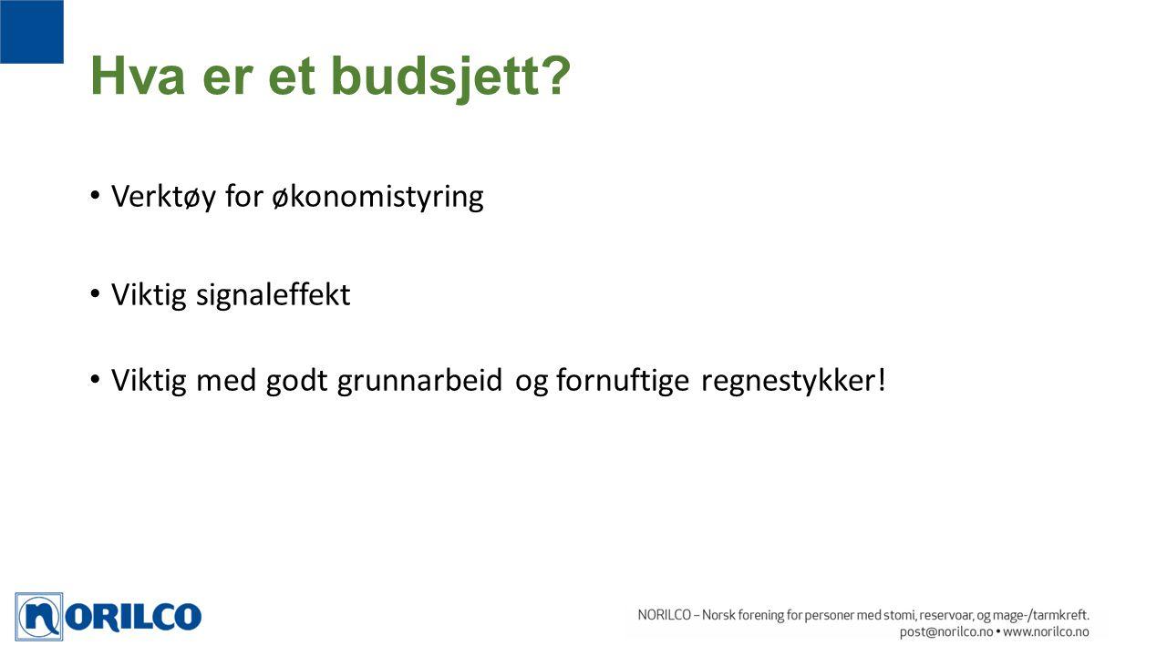 Hva er et budsjett Verktøy for økonomistyring Viktig signaleffekt