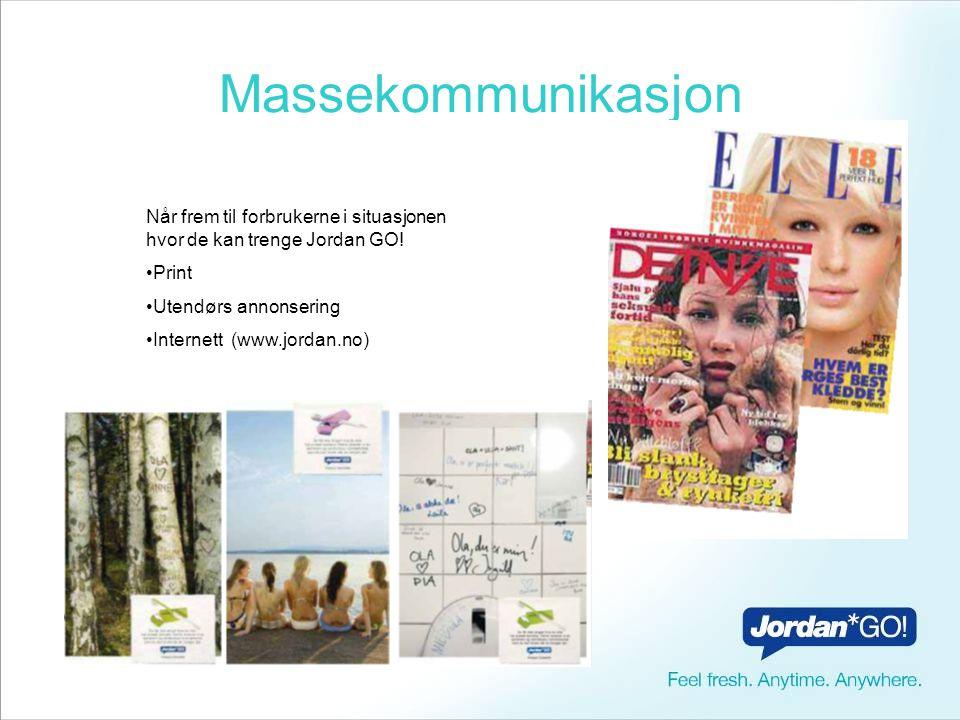 Massekommunikasjon Når frem til forbrukerne i situasjonen hvor de kan trenge Jordan GO! Print. Utendørs annonsering.