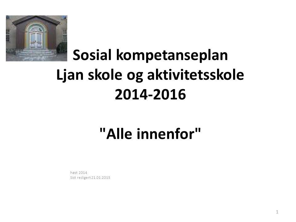 Sosial kompetanseplan Ljan skole og aktivitetsskole 2014-2016 Alle innenfor