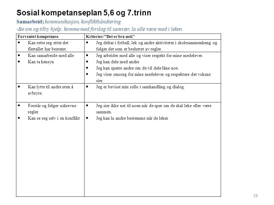 Sosial kompetanseplan 5,6 og 7