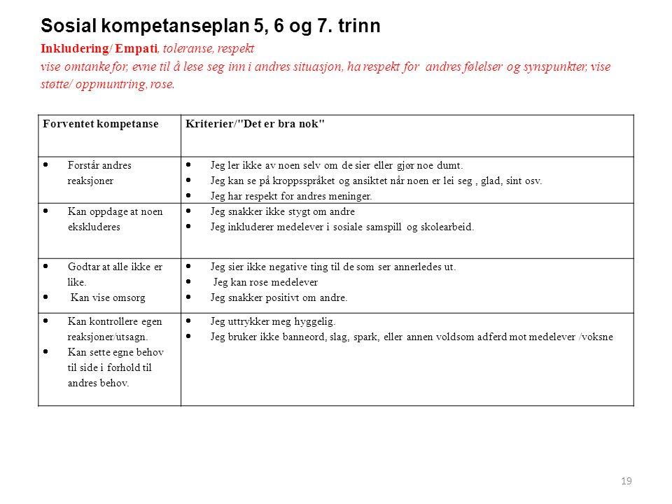 Sosial kompetanseplan 5, 6 og 7