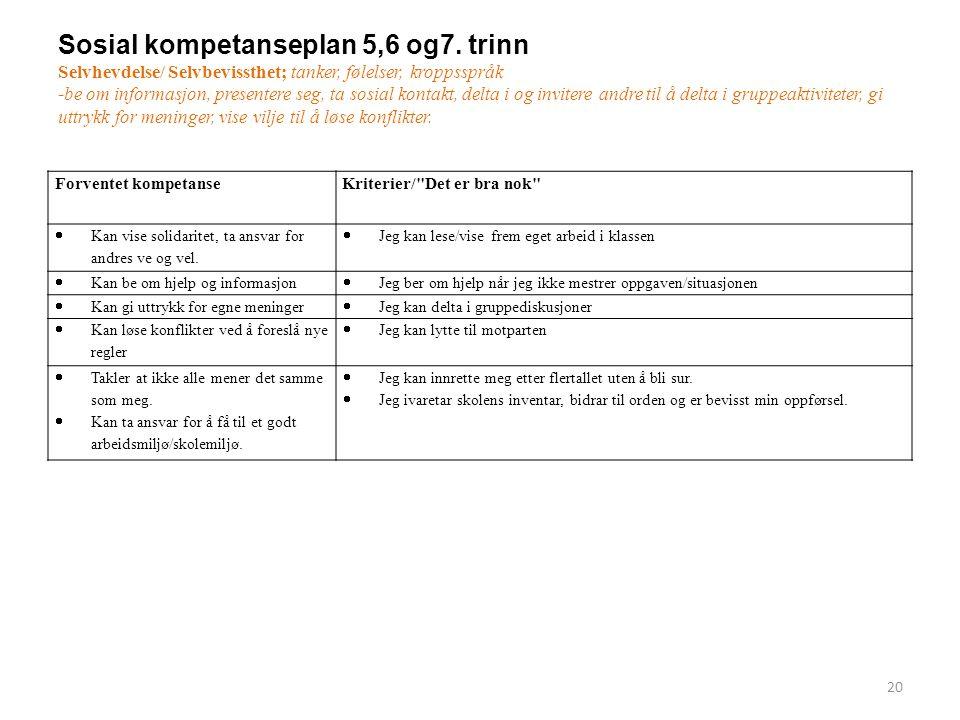 Sosial kompetanseplan 5,6 og7